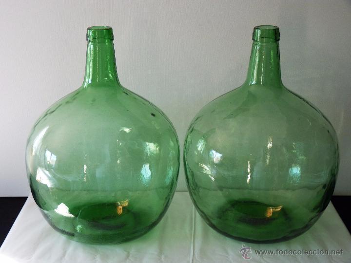lote de 2 antiguas garrafas de cristal grandes comprar