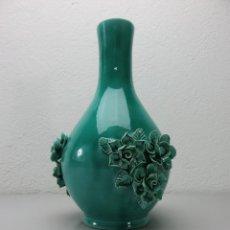 Vintage: JARRÓN TURQUESA CERÁMICA MANISES. Lote 49385953