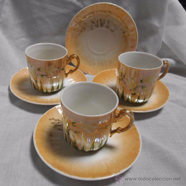 Taza cafe juego tres tazas de cafe con 4 plato comprar for Juego tazas cafe