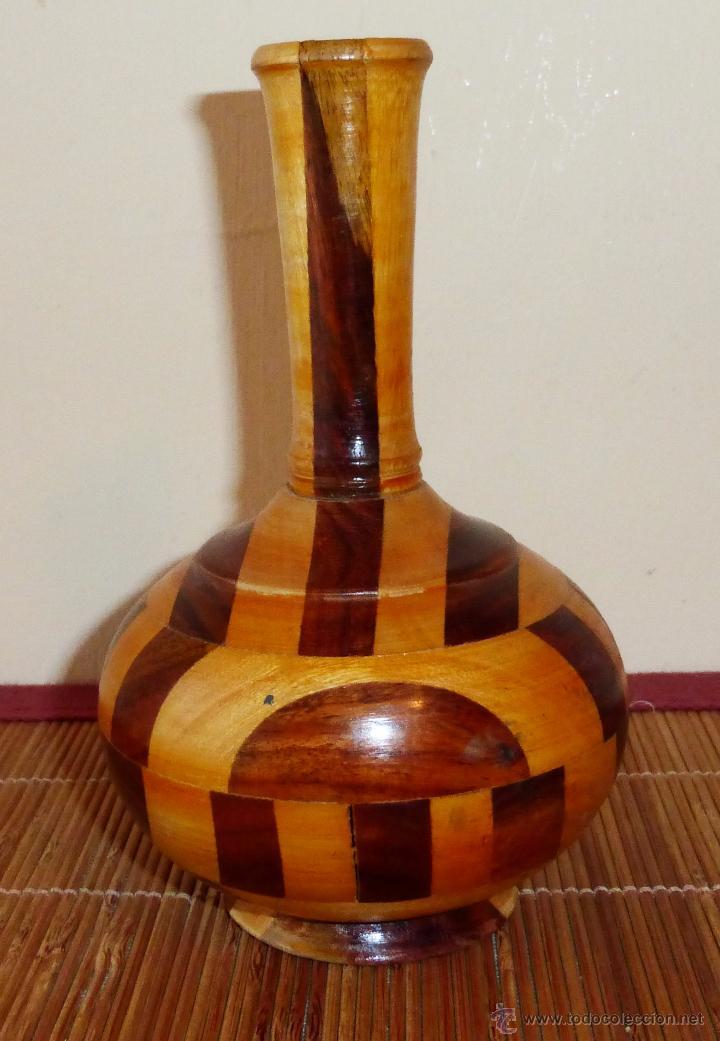 pequeo jarrn de madera bicolor en taracea vintage decoracin jarrones y floreros