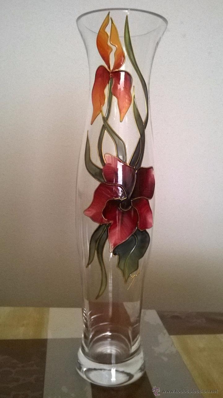 jarron florero de cristal o vidrio decorado a Comprar Jarrones y