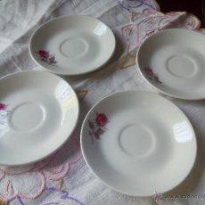 Vintage: LOTE DE 4 PLATILLOS DE CAFÉ DE PORZELANIT MADE IN SPAIN. DECORADOS CON UNA HERMOSA ROSA.. Lote 50163646