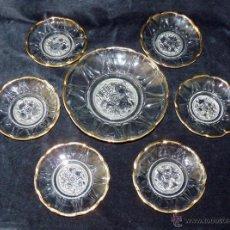 Vintage: ANTIGUO JUEGO 6 + 1 PLATOS CON BORDE DORADO PARA GALLETAS O PASTAS. AÑOS 50. Lote 50268922