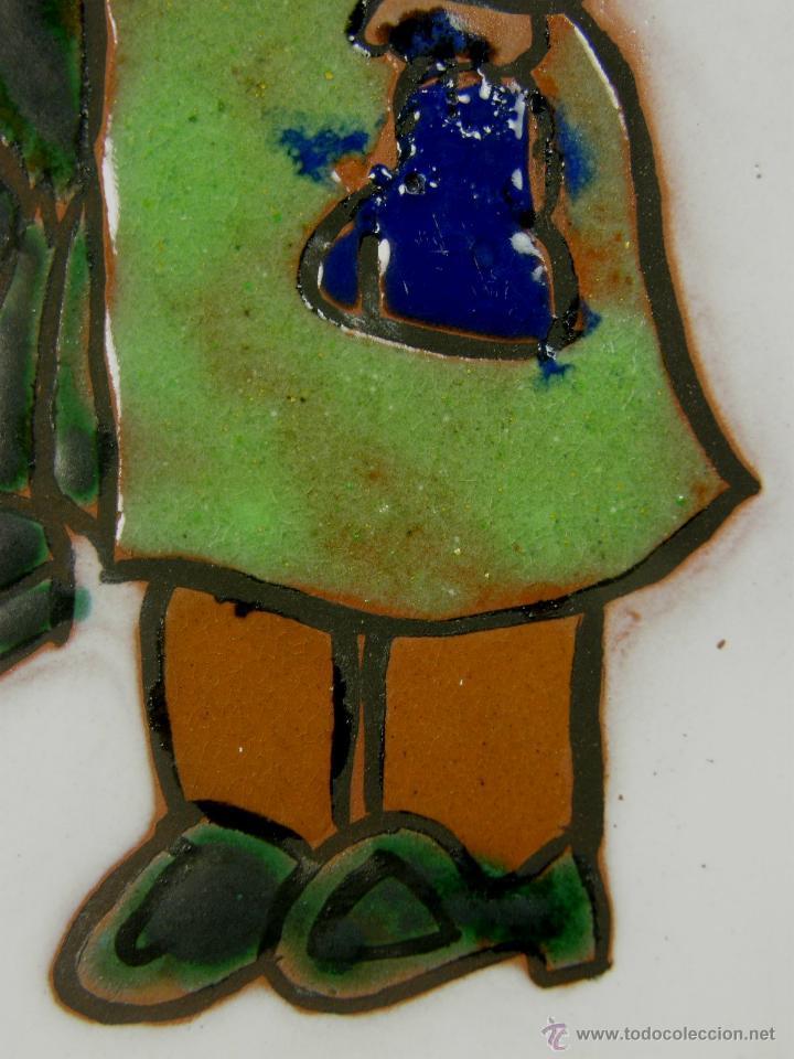 Vintage: azulejo balnul s.a. made in spain años 70 firmado M. G. niño poney madre enmarcado 23x23cms - Foto 7 - 50560978