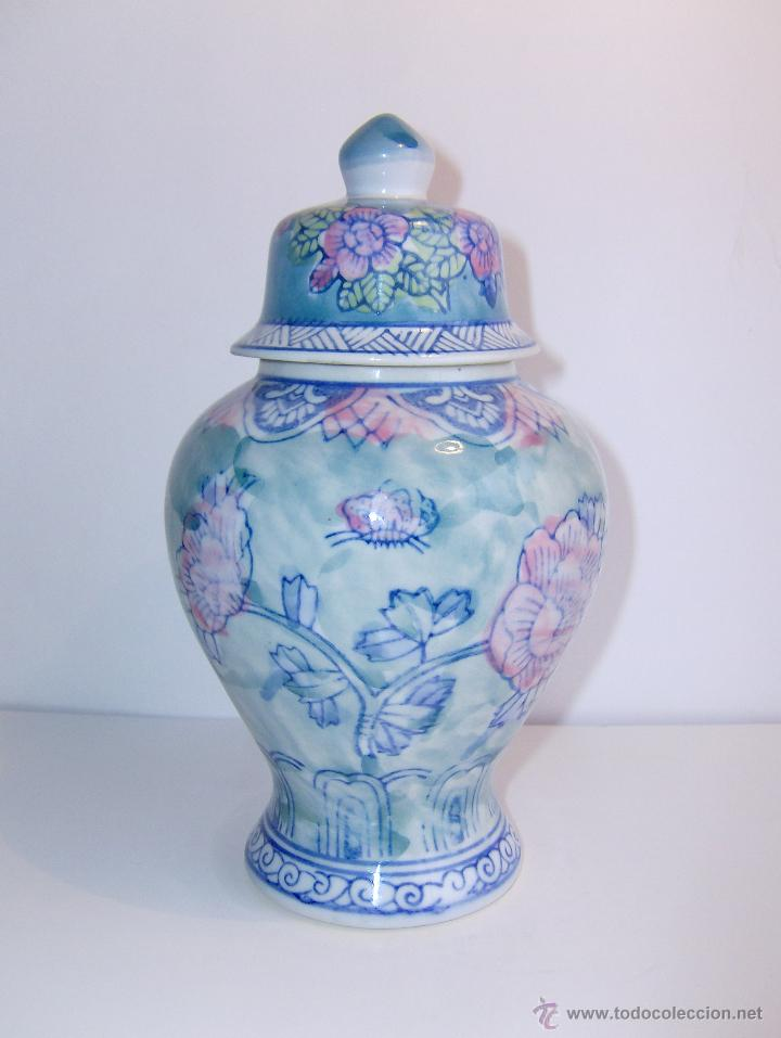 TIBOR DE CERAMICA CON MOTIVO FLORAL. 480 GRAMOS (Vintage - Decoración - Porcelanas y Cerámicas)