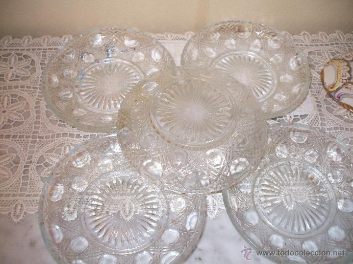 Vintage: Lote de 5 platos postre ,de cristal tallado ,años 50 - Foto 2 - 50774122