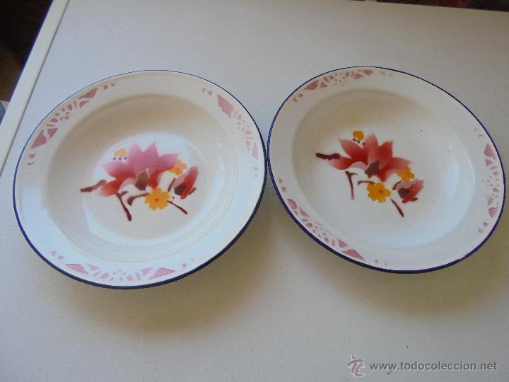 antiguos platos de metal esmaltados porcelana comprar