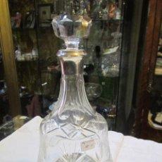 Vintage: BOTELLA LICORERA DE CRISTAL TALLADO, CON BASE Y BOCA DE PLATA PUNZONADA. 30 CMS. ALTURA.. Lote 51079081
