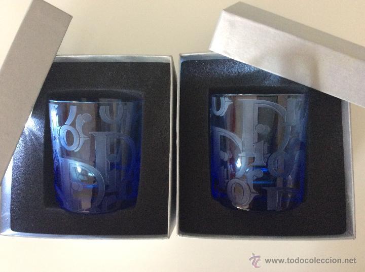 Vintage: Envío 12€. Dos vasos de cristal azul tallados a mano de DIOR . PIEZAS DE LUJO. Con cajas originales - Foto 3 - 51184442
