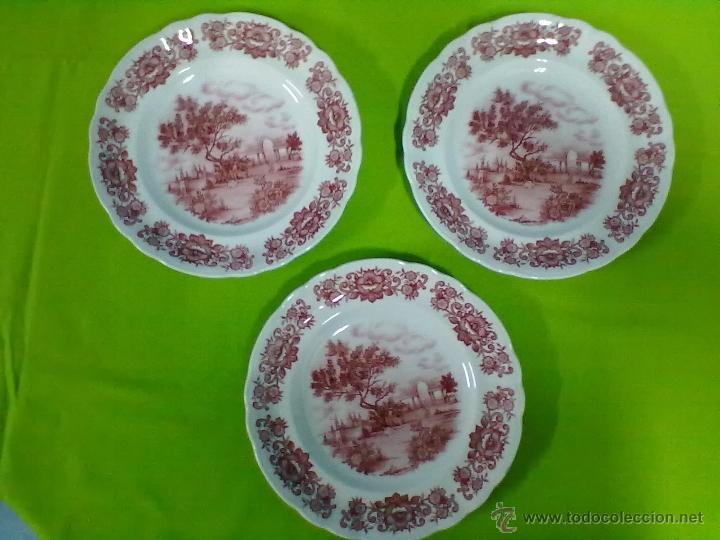 PONTESA TRES PLATOS POSTRE (Vintage - Decoración - Porcelanas y Cerámicas)