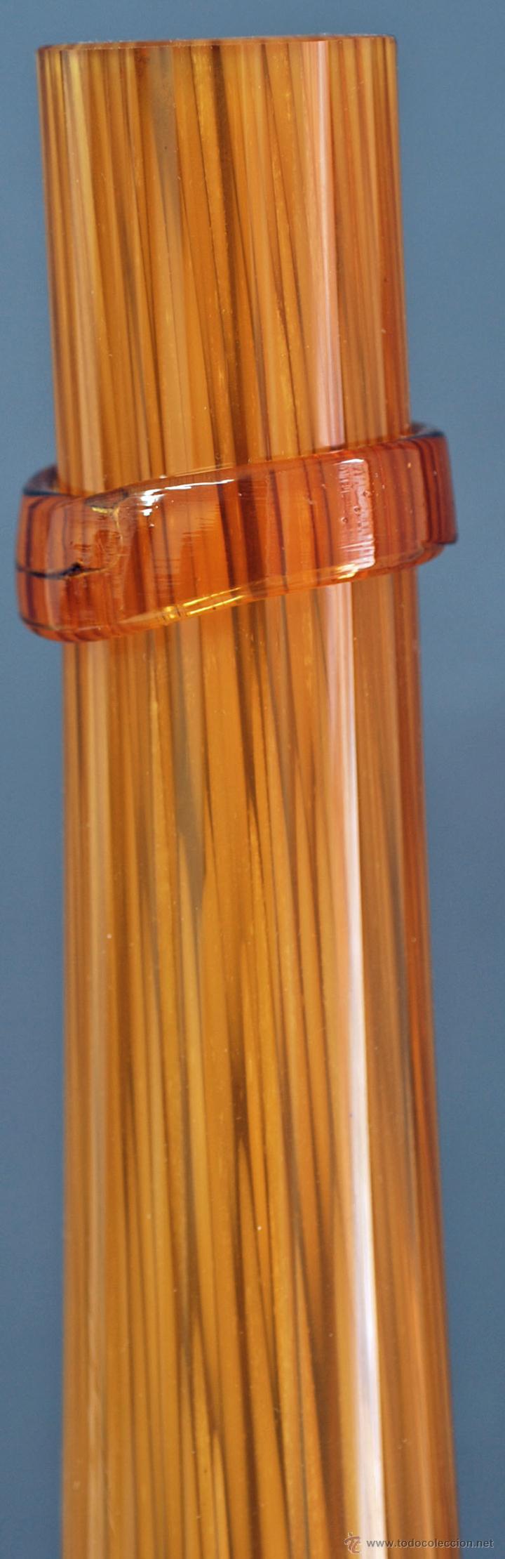 Vintage: Centro botella cristal soplado color ámbar vintage años 50 - 60 - Foto 3 - 51419450