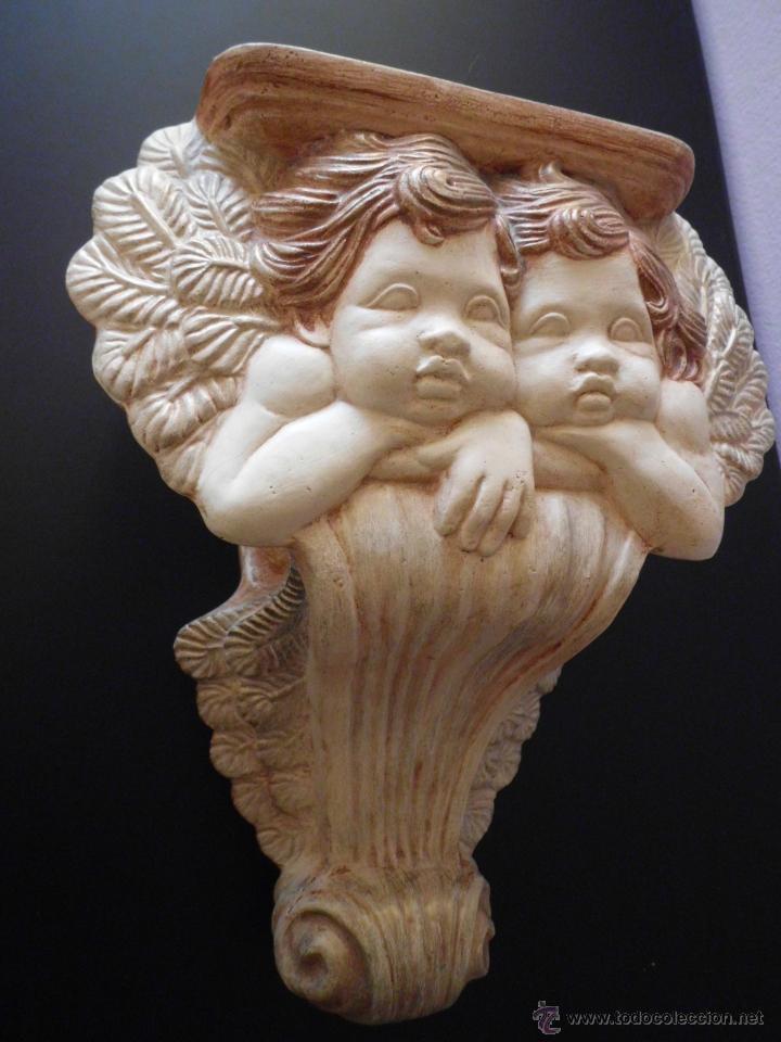 Vintage: Ménsula o peana de cerámica con pareja de amorcillos - Foto 4 - 236839030