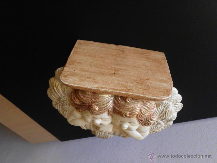 Vintage: Ménsula o peana de cerámica con pareja de amorcillos - Foto 10 - 236839030
