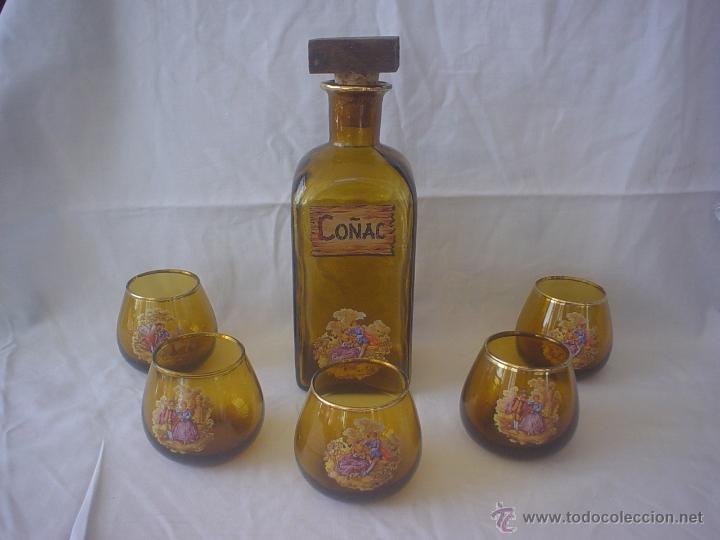 JUEGO LICOR COÑAC - BOTELLA - VASOS (Vintage - Decoración - Cristal y Vidrio)