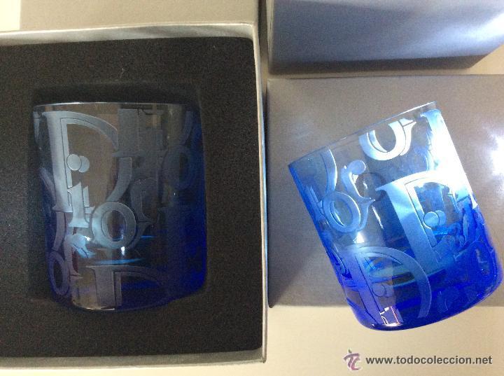Vintage: Envío 12€. Dos vasos de cristal azul tallados a mano de DIOR . PIEZAS DE LUJO. Con cajas originales - Foto 5 - 51184442