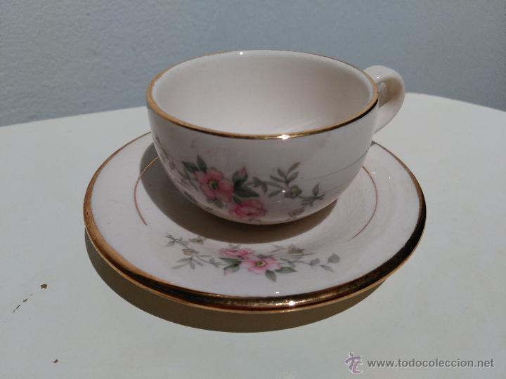 PRECIOSO CONJUNTO DE PLATO Y TAZA. HECHO EN MEXICO (Vintage - Decoración - Porcelanas y Cerámicas)