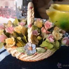 Vintage: CESTA DE PORCELANA CON FLORES. Lote 53008315