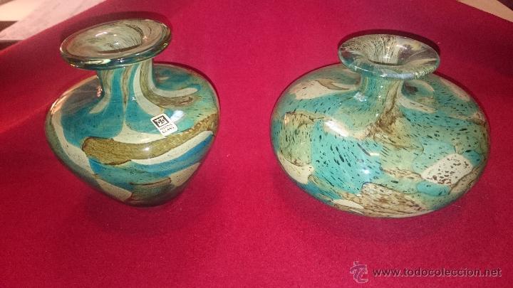 dos bonitos jarrones de cristal de malta vintage decoracin cristal y vdrio