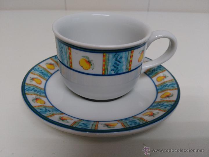 JUEGO DE TAZA Y PLATO DE PORCELANA. MARCA SANDRA RICH PORCELANA COLLECTION (Vintage - Decoración - Porcelanas y Cerámicas)