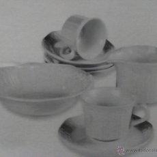 Vintage: JUEGO DE CAFE 6 SERVICIOS PORCELANA PONTESA EN RELIEVE LAVAVAJILLAS MICROONDAS. Lote 53439196
