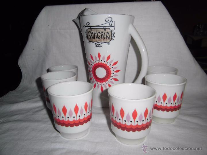 JUEGO DE SANGRIA EN PORCELANA MUY VINTAGE AÑOS 70 (Vintage - Decoración - Porcelanas y Cerámicas)