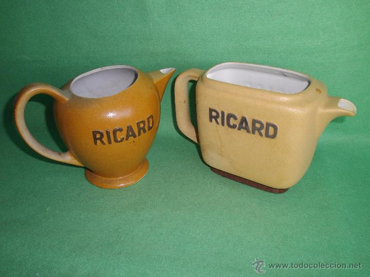 GENIAL LOTE JARRA RICARD CERÁMICA PASTIS ANISETTE FRANCIA MARCAJE NUMERACIÓN AÑOS 50-60 (Vintage - Decoración - Porcelanas y Cerámicas)