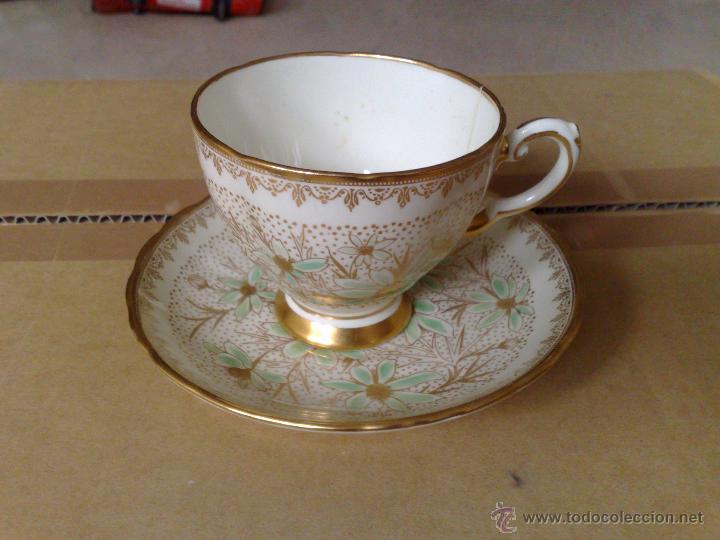 Antigua taza y plato de te inglesa ribeteado en comprar for Tazas de te estilo vintage