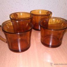 Vintage: 4 TAZAS COLOR AMBAR DURALEX. Lote 54185926