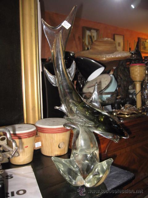 Vintage: Tiburon de cristal de murano altua 50 cm. ancho 20 cm. ver fotos ligero toque - Foto 4 - 54206184