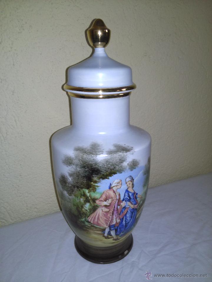 GRAN TIBOR DECORADO CON MOTIVO ROMANTICO (Vintage - Decoración - Porcelanas y Cerámicas)