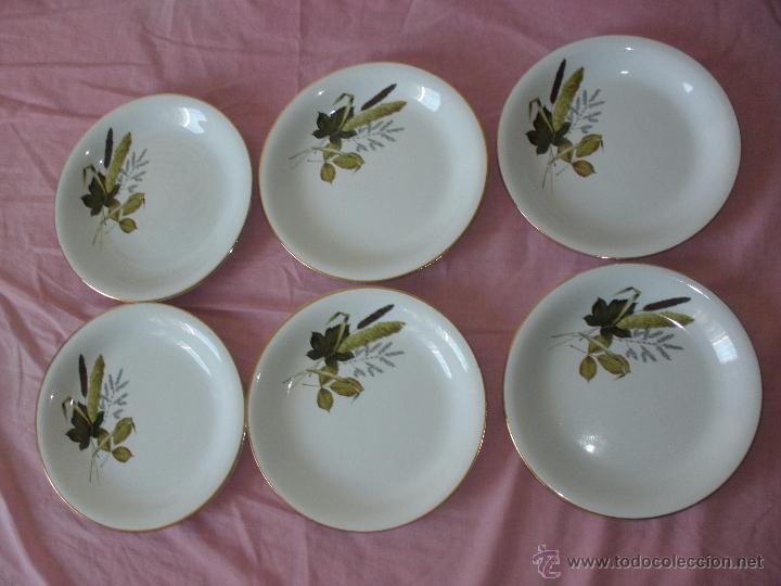 6 Plato Platos de vajilla vintage de porcelana Pickman colores otoñales años 60 u 70 segunda mano