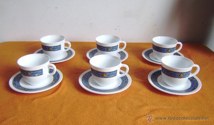 Juego de 6 tazas y platos de te con decoraci n comprar for Juego de tazas de te