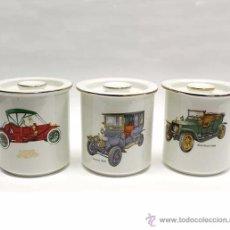 Vintage: 2 TARROS DE PORCELANA DECORADOS CON COCHE ANTIGUOS. Lote 54951372