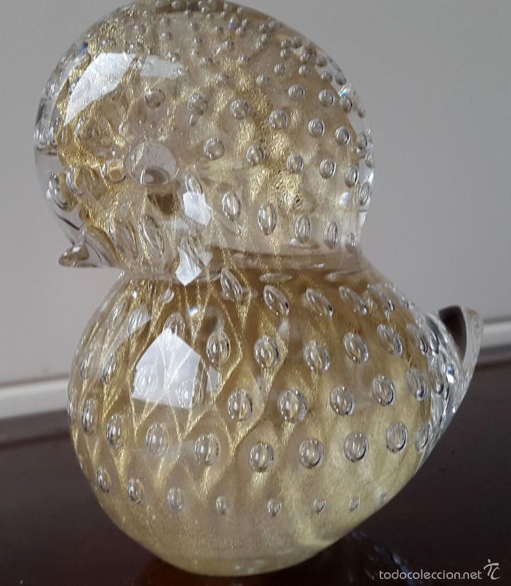 FIGURA DE CRISTAL DE MURANO CON POLVO DE ORO - AÑOS 70 (Vintage - Decoración - Cristal y Vidrio)