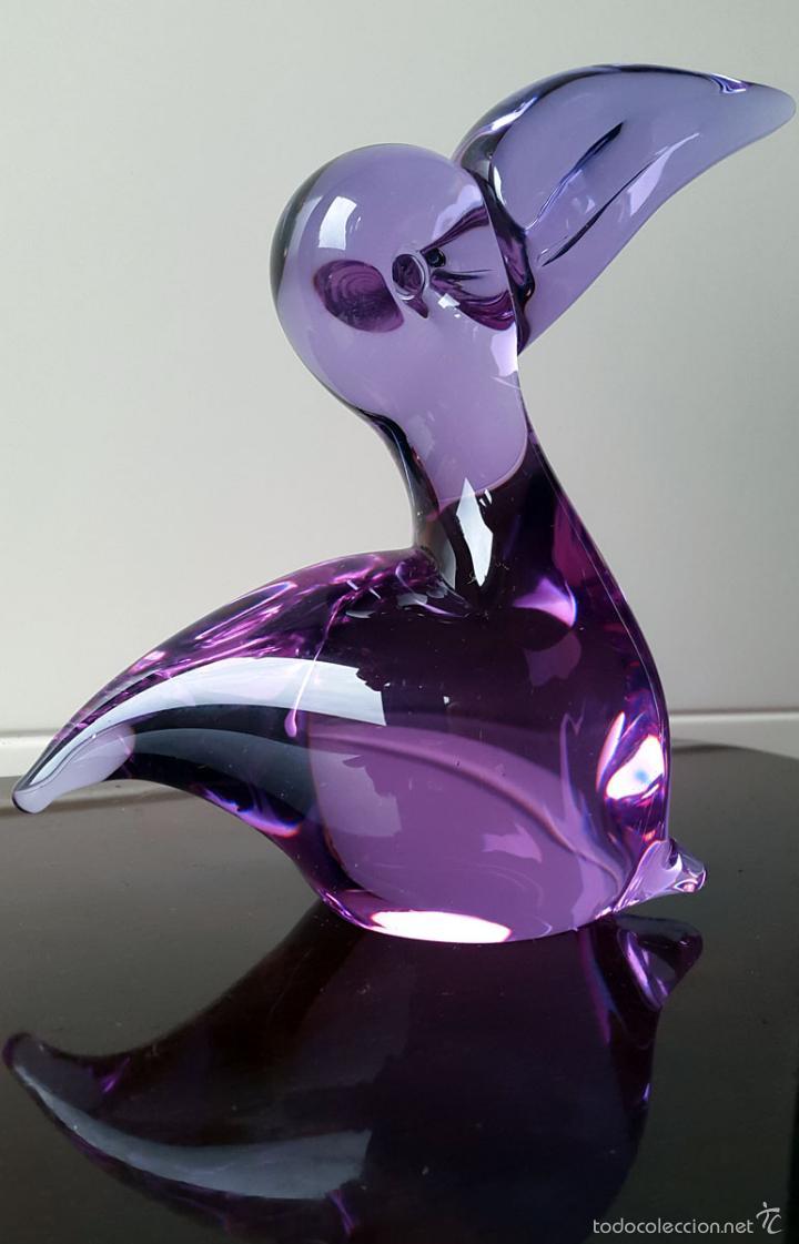 Vintage: PELÍCANO DE CRISTAL DE MURANO. ART GLASS AÑOS 70 - Foto 3 - 56046424