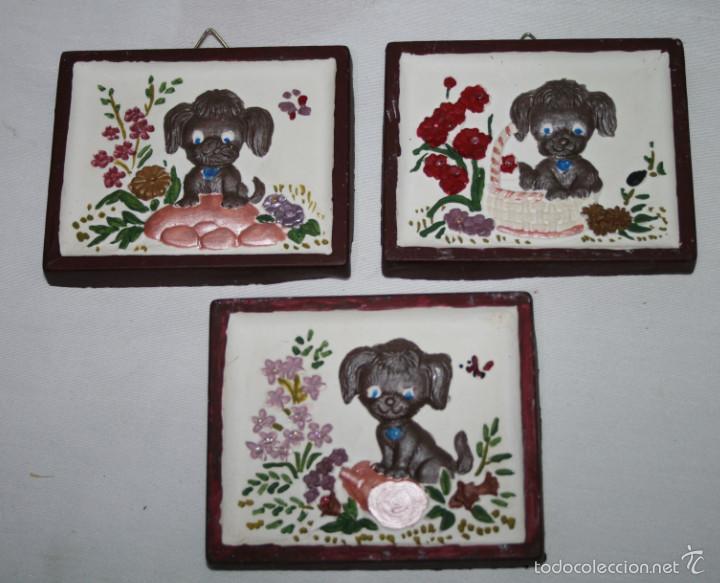lote de 3 bonitos cuadros vintage de perros en Comprar Porcelana y