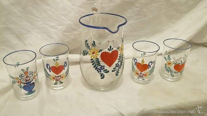Jarra Y 4 Vasos De Vidrio Decorados A Mano