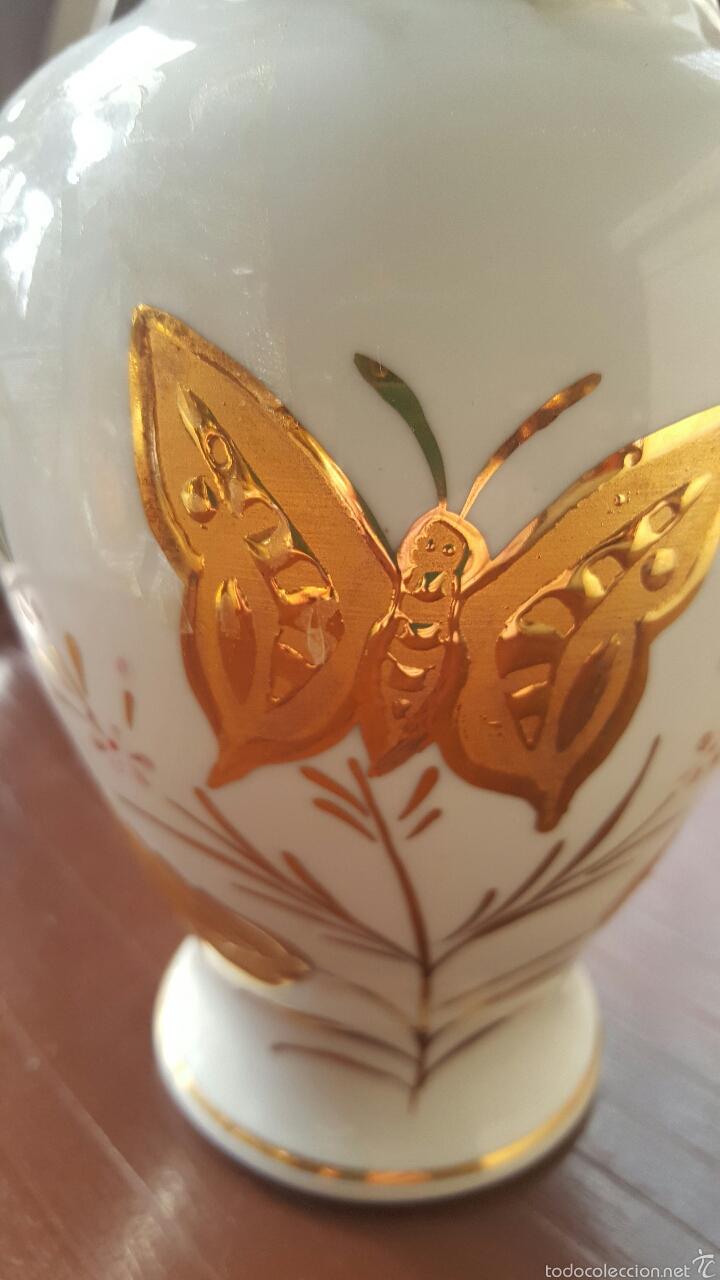 Vintage: Jarrón de porcelana decorado a mano con oro de ley - Foto 2 - 56462766