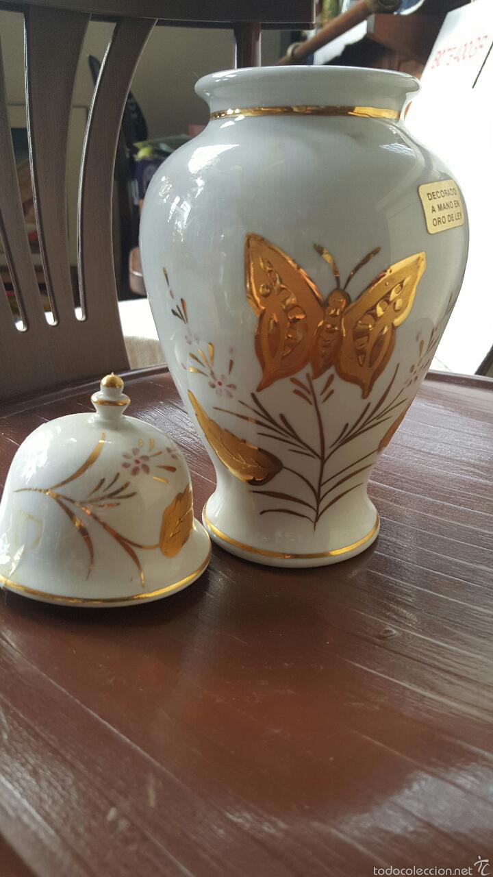 Vintage: Jarrón de porcelana decorado a mano con oro de ley - Foto 3 - 56462766