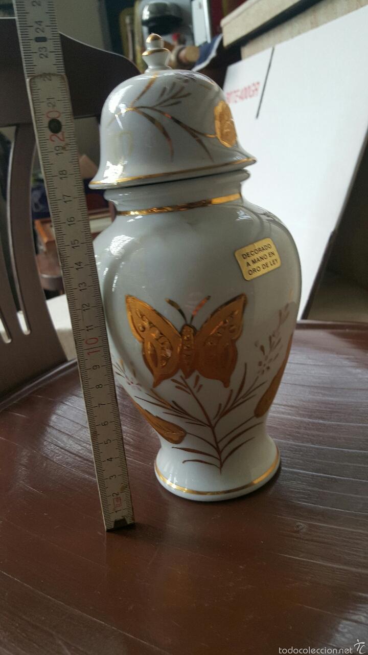 Vintage: Jarrón de porcelana decorado a mano con oro de ley - Foto 6 - 56462766