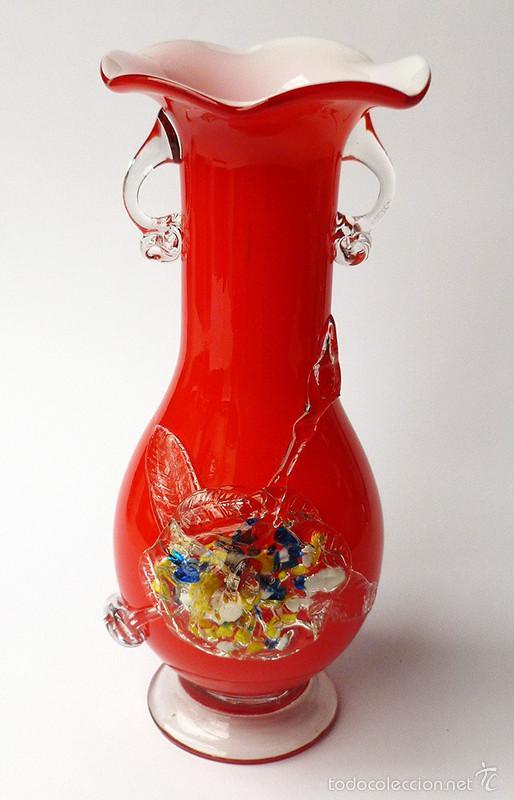 magnfico jarrn rojo en cristal artstico de murano millefiori italia vintage aos vintage