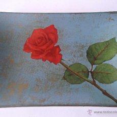 Vintage: BANDEJA DE CRISTAL DECORADA A MANO, AÑOS 60. Lote 56834673