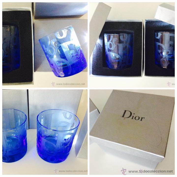 Vintage: Envío 12€. Dos vasos de cristal azul tallados a mano de DIOR . PIEZAS DE LUJO. Con cajas originales - Foto 2 - 51184442