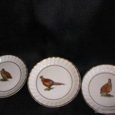Vintage: PLATOS DE POSTRE DECORADOS CON AVES PLATITOS PORCELANA CON DIBUJO DE AVES PERDICES. Lote 56965129