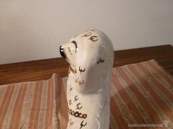 Vintage: gato Perro de cerámica de Straffordshire.Roto.S XIX-XX. - Foto 2 - 57180509