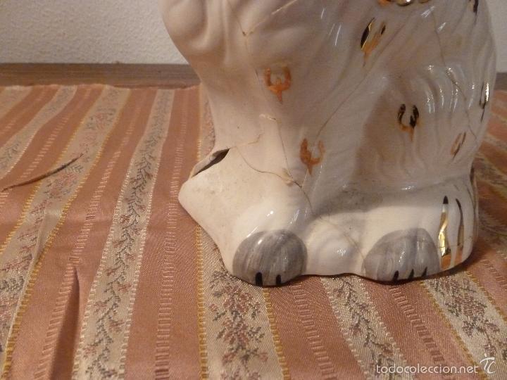 Vintage: gato Perro de cerámica de Straffordshire.Roto.S XIX-XX. - Foto 9 - 57180509