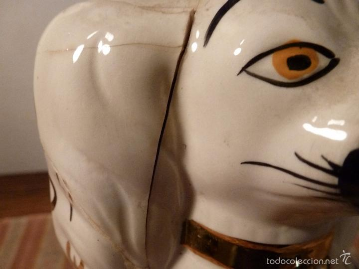Vintage: gato Perro de cerámica de Straffordshire.Roto.S XIX-XX. - Foto 11 - 57180509