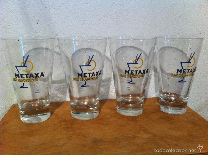 BONITO LOTE DE 4 VASOS O COPAS PARA COCTELES. MARCA METAXA (5) (Vintage - Decoración - Cristal y Vidrio)