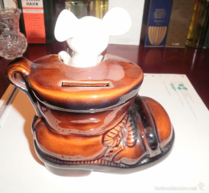 Vintage: Decoración vintage. Figura de porcelana, Hucha ratón en bota, EIHO (Japón). Buen estado, años 70 - Foto 5 - 202038241