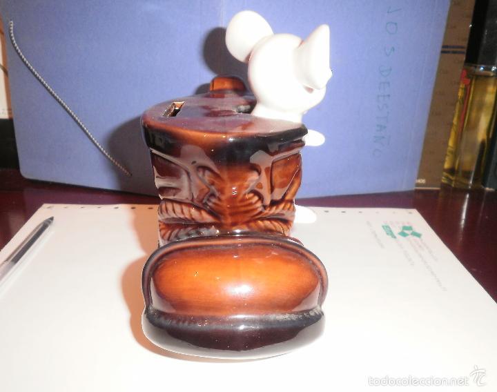 Vintage: Decoración vintage. Figura de porcelana, Hucha ratón en bota, EIHO (Japón). Buen estado, años 70 - Foto 6 - 202038241